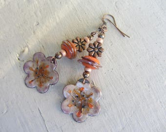 Dangling earrings with enameled copper flower and Pearl spun glass artisan, pink and bright orange, seed beads and metal flower