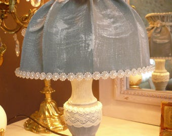 Shabby weathered gray bedside lamp