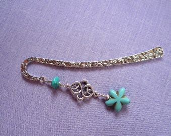 Bookmark engraved silver metal and zinc alloy, howlite starfish and genuine turquoise / book / hair accessory