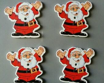 set of 4 Santa Claus wooden button, scrapbooking embellishments