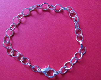 large silver plated chain bracelet mesh 20cm