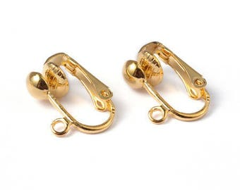 2 pairs of clip earrings gold color