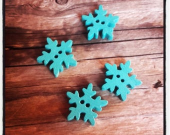 4 wood 20 mm turquoise snowflake buttons
