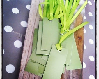 Set of 12 labels / green tags with Ribbon