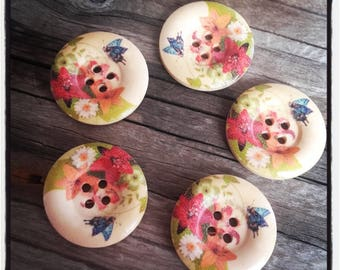 set of 5 large button wood flowers 25 MM