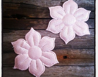 Pink set of 2 appliques for sewing or craft flowers