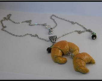Polymer clay Croissant necklace