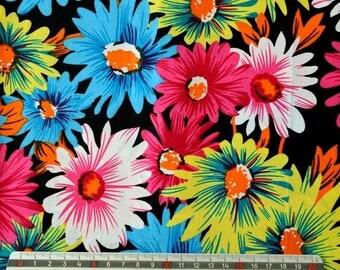 """Flowers"" - multicoloured version pattern cotton fabric"