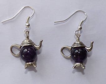 """EARRINGS """"COLLECTION ALICE"""" COFFEE POT WITH MINERAL STONE AMETHYST"""