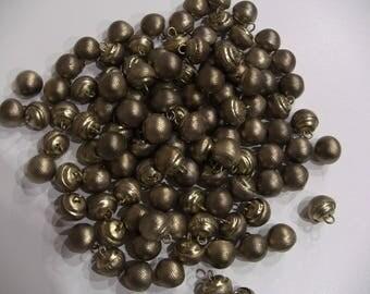Old buttons Metal 14mm diameter balls 10 old brass 12mm height