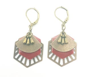 Vintage red and bronze earrings