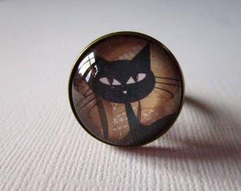 "Ring ""Black cat and orange hat"", bronze, costume jewelry"