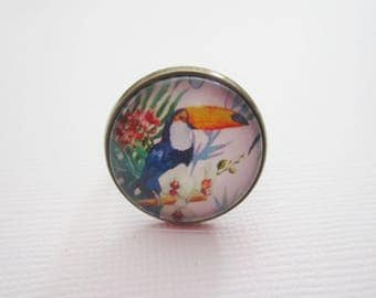 """Tropical"" ring bronze cabochon, costume jewelry"