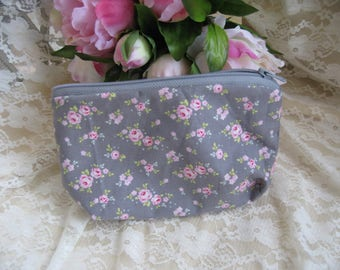Free shipping! Grey and pink fabric makeup