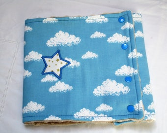 Snood for children: clouds on blue background