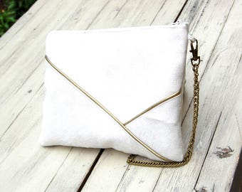 Clutch, ivory suede shoulder bag, graphic line Golden - after the beach