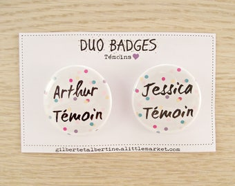 "Duo witness 3.8 cm badges / ""Confetti"""