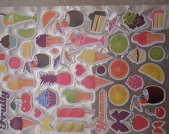 Ice cream and fruit stickers decals