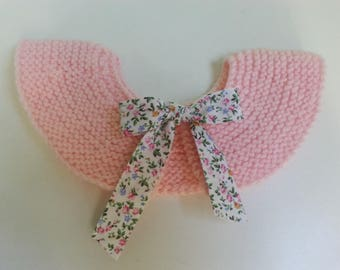 Peter Pan collar removable pink wool accented with a liberty bow 2-5 years - idea birthday gift