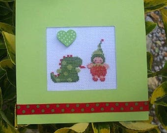 Hand embroidered card: leprechaun and his dinausore