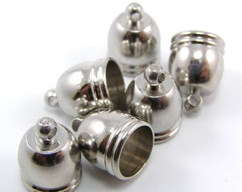 Cord end caps silver 10 x 14 mm hole 8.5 mm set of 2