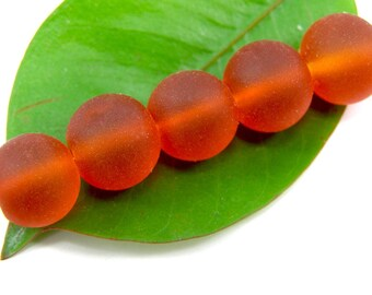 Set of 5 color 12 mm frosted glass beads orange
