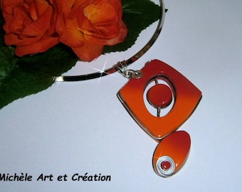 Necklace layering red and orange gradient polymer clay