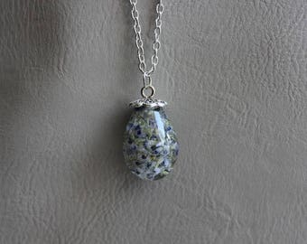 Necklace + pendant drop/Teardrop resin and rare German Blue inclusion