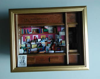 Bookseller decor frame wall frame window gift box table books Library Bookstore