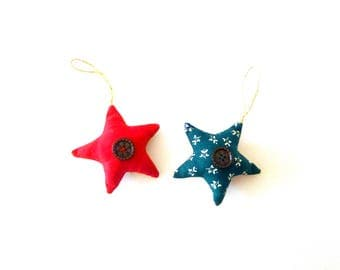 Set of 2 ornaments stars Bicolores - Christmas tree - burlap and fabric