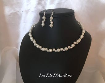 Wedding CYRIUS 2 piece necklace & earrings set in ivory