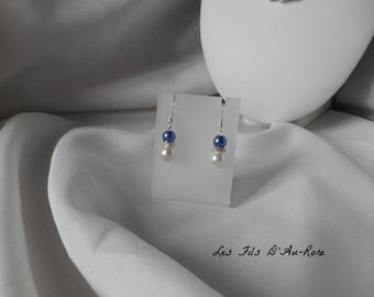 "Earrings ""Blue"" with Pearl & Royal Blue beads"