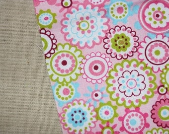 Fabric, blue or pink coupon has flower