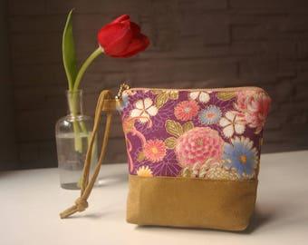 Kit cloth averc Japanese pattern kimono-purple / lime green