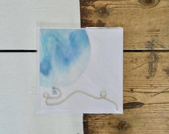Light Blue Balloon Birthday Card
