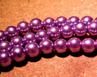 50 glass Pearl 8 mm - lilac - AP14 iridescent beads