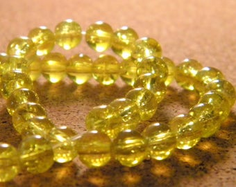 130 - yellow - 6 mm PE128 Crackle glass beads