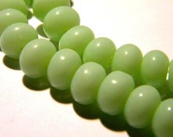 30 8 x 5 - abacus - pumpkin way jade glass beads - green light F124 2