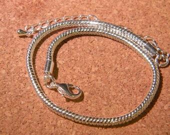 pandor style bracelet 21 cm @ mesh snake and chain - silver heart - D97 - 7