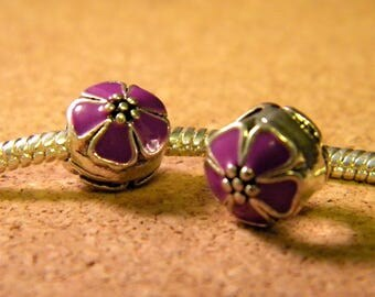 bead charm European-style pandor@-10 mm - spray-painted European bead - backed purple enamel cherry blossom - C54