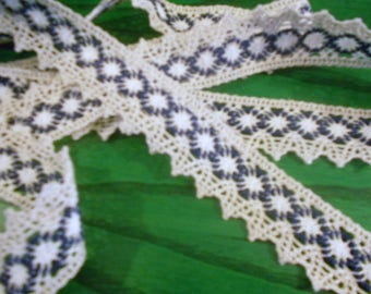 Cotton lace, color: ecru, blue, white
