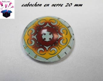 1 cabochon clear 20mm rose theme