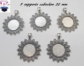 5 supports of silver antiqued ring 20 mm cabochon