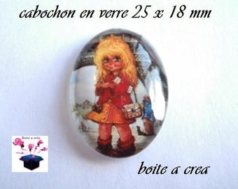 1 cabochon glass 25mm x 18mm number 13