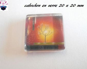 1 cabochon clear square flat 20 x 20 mm tree fall theme