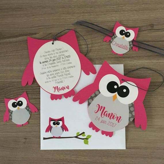 Favori invitation faire-part baptème hibou chouette fuchsia AH87