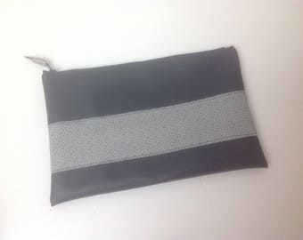 FLAT clutch in faux leather and Japanese fabric