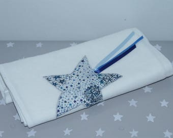 White Swaddle 60 x 60 cm with matching ribbons and star liberty Adelajda