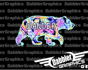 Bear Wander Feather Colorful Decal Sticker