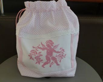 """Angel"" pink and white embroidered purse"